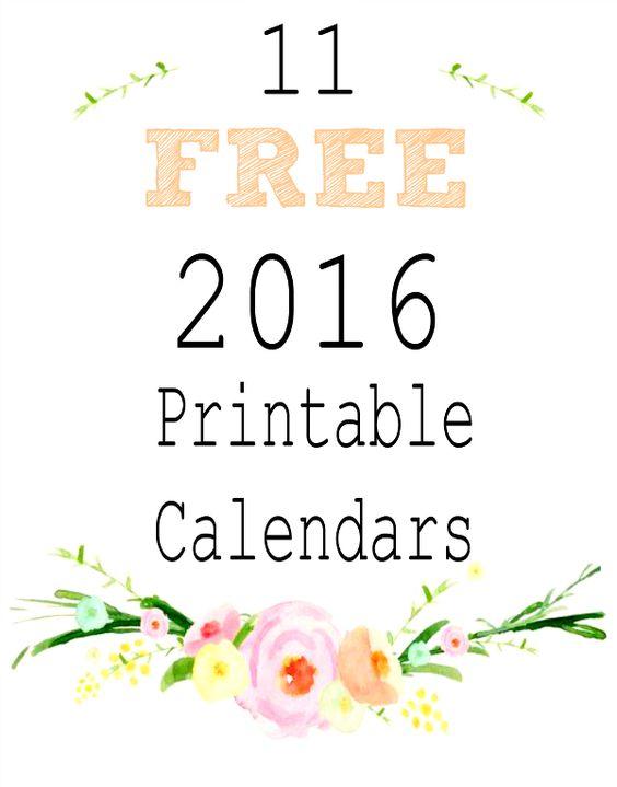 2016 Free Printable Calendars | Kostenlos Ausdruckbare Kalender ...