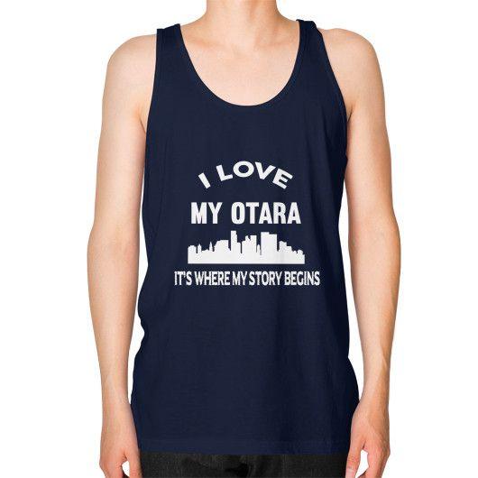 I LOVE MY OTARA Unisex Fine Jersey Tank (on man)
