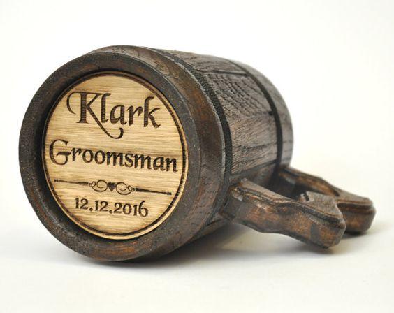 Personalized Groomsman Laser Etched Wooden Beer Mug by GoodBeerMug