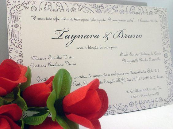 Lindo convite de casamento, em tons de cinza.