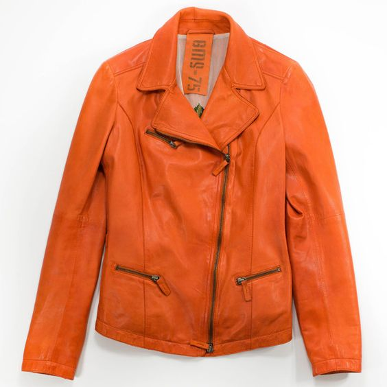 GMS075 Leather Modo Jacket ($1,625) ❤ liked on Polyvore featuring outerwear, jackets, orange, genuine leather jacket, real leather jacket, orange leather jacket, vintage jacket and modo
