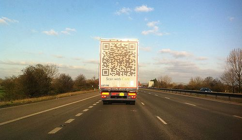 QR codes on moving vehicles?! Almost as good as QR codes on motorway billboards