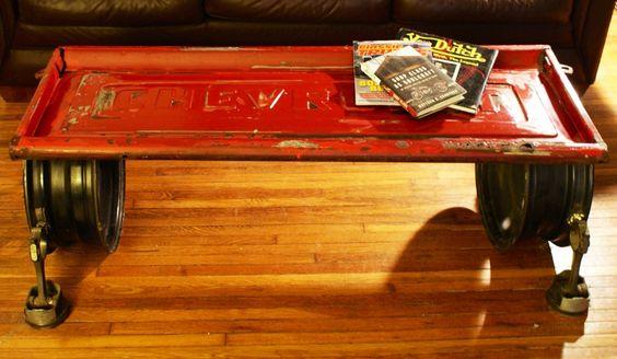 Chevy truck tailgate add a couple rims and some pistons for Man cave coffee table ideas