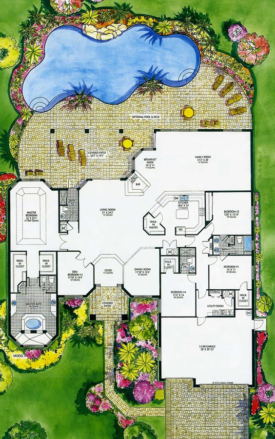 Luxury floor plans hanover luxury home plan floor plan for Pool layout design