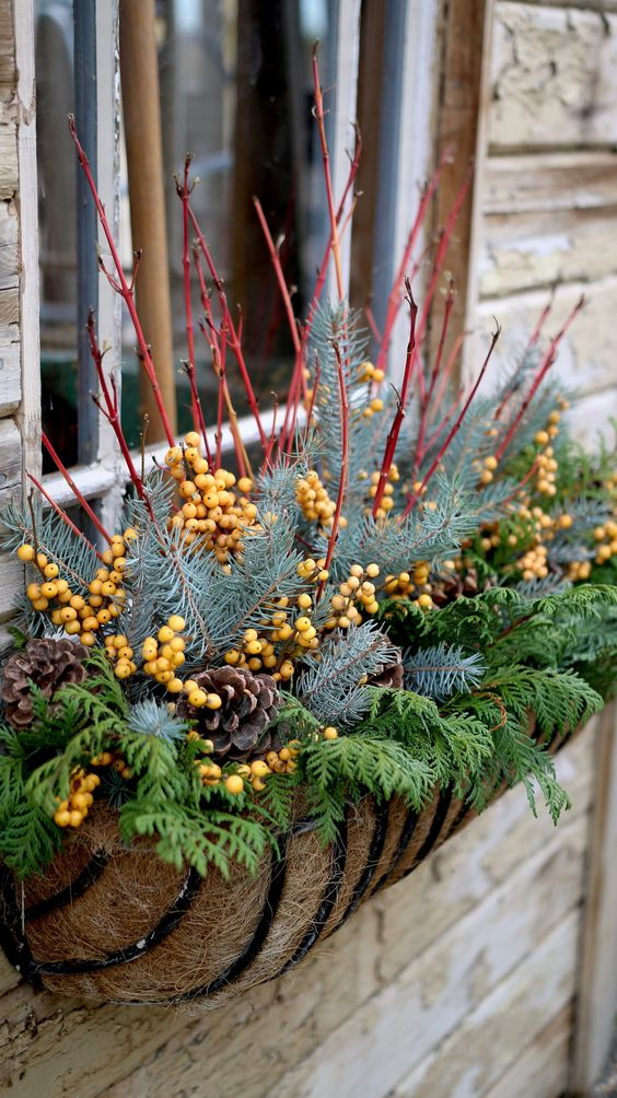 window plant boxes for garden container #christmas  #containers #planters #gardenplanters #twigs #pinecones