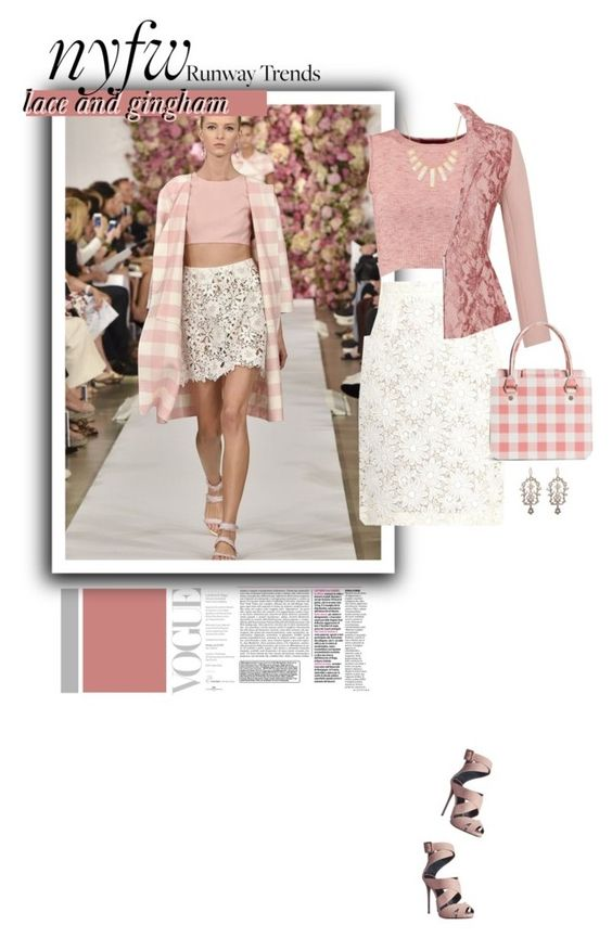 """seen at NYFW: lace and gingham for spring."" by ashtagery ❤ liked on Polyvore featuring Giambattista Valli, Boohoo, Emilia Wickstead, Giuseppe Zanotti, Brooks Brothers, Rivka Friedman, NYFW, SpringStyle, polyvorecommunity and springsummer2015"