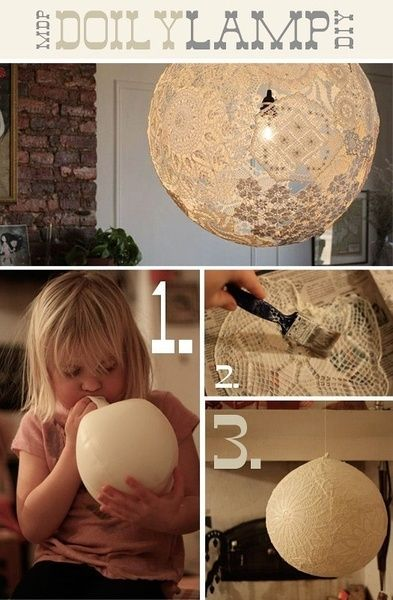 Make Your Own Lace Lamp:  1. soak with wallpaper glue    2. Hang the balloon on a string (use a clip, do not tie a knot on the balloon) and put the soaked lace on the balloon. They have to overlap each other so they will stick together and connect.    3. Put on another coat of extra glue when they are all on the balloon.  Just to be sure.   4. Untie and remove the balloon!
