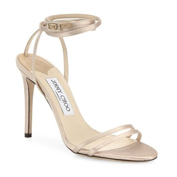 Jimmy Choo Tizzy 100 Metallic Leather Ankle-Wrap Sandals ($750) ❤ liked on Polyvore featuring shoes, sandals, natural, leather ankle strap sandals, ankle strap shoes, metallic leather sandals, ankle wrap sandals and jimmy choo sandals