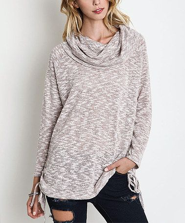 Another great find on #zulily! Blush Variegated Side-Tie Cowl Neck Tunic #zulilyfinds