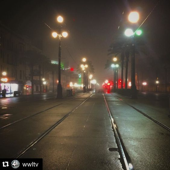 #Repost @wwltv Check out the #green JOY marquee!!!  Early morning fog blankets the sleeping city. #canalstreet #nola #foggy #latergram #frenchquarter by joytheater