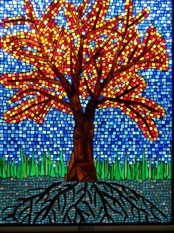 Fall Tree Mosaic Stained Glass Original Artwork  Artworks, Close up and Mosaics