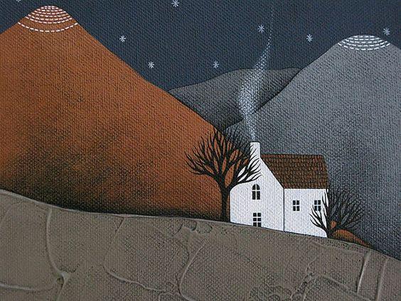we're almost home 3. original night landscape painting on deep edge canvas by natasha newton. £125.00, via Etsy.