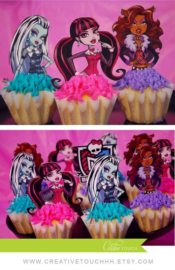 Monster High birthday party cupcakes! See more party planning ideas at CatchMyParty.com!