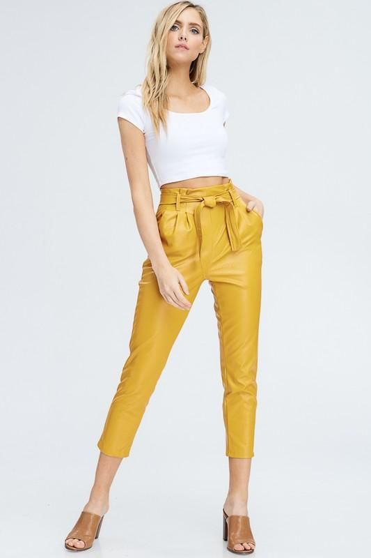 Mustard Faux Leather Tie Belt Pants Belted Pants Skinny Clothes Mustard Pants