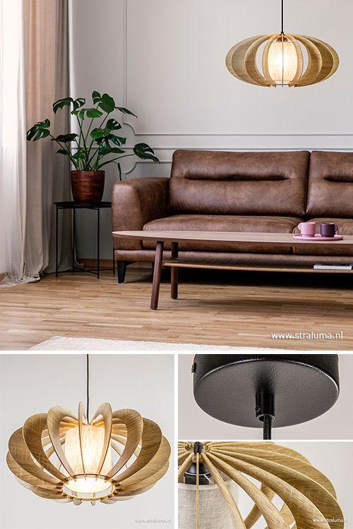 Hout Brengt Een Hoop Sfeer En Warmte In Huis Deze Middel Grote Hanglamp Kan Dat Perfect In Bijvoorbeeld De Woon Hanglamp Woonkamerlampen En Lampen