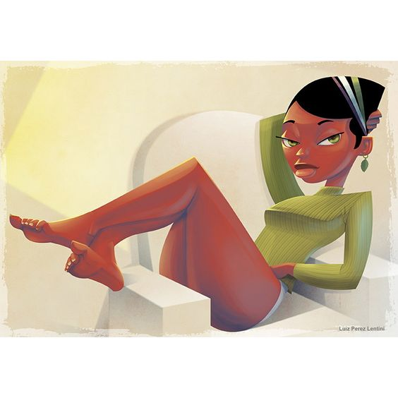 Pinup cartoon style girl from my portfolio. Lentinidigital.