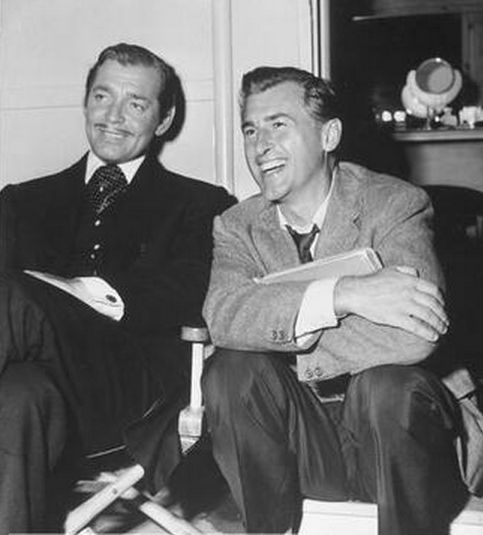 """LONE STAR (1953) Clark Gable is joined in his dressing room by Stewart Granger whose next film will be MGM's """"Scaramouche"""" - Directed by Vincent Sherman - MGM."""