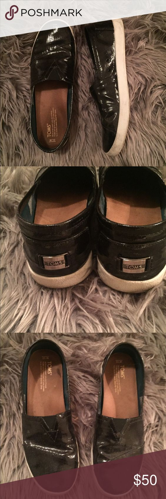 TOMS Patten Leather Shoes Worn a couple times. I DO NOT TRADE TOMS Shoes