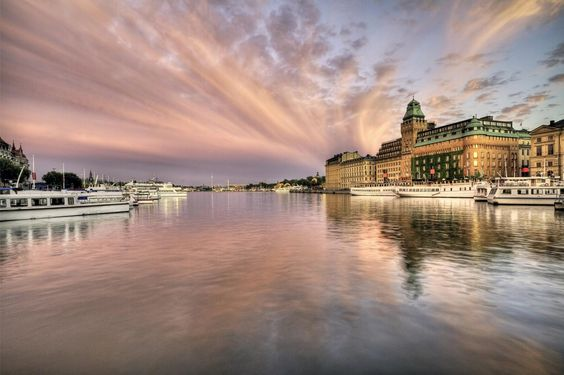 This peaceful image is the view of the sky over Stockholm.