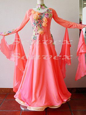 Ballroom Everday Standard Tango Waltz Dance Dress US 8 UK 10 Pink Flowers