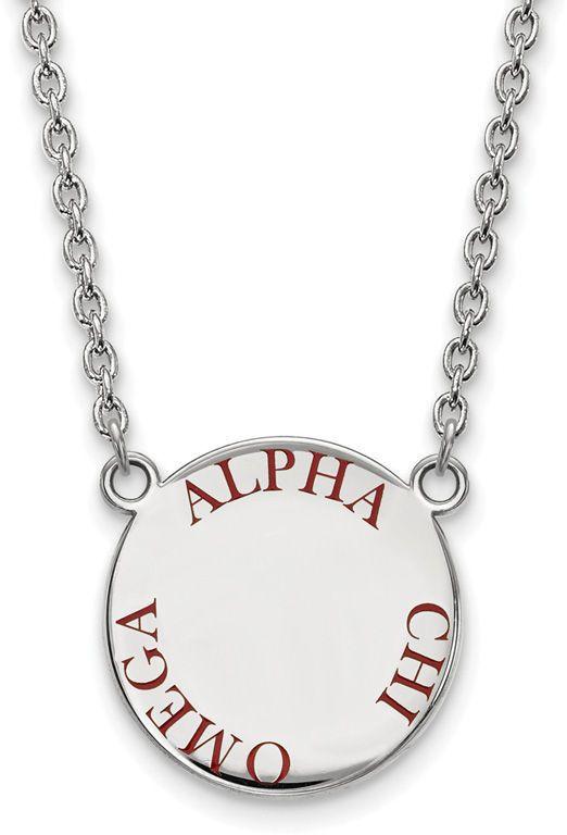 Zales Red Enamel Alpha Chi Omega Sorority Necklace in Sterling Silver Kd7HahKb
