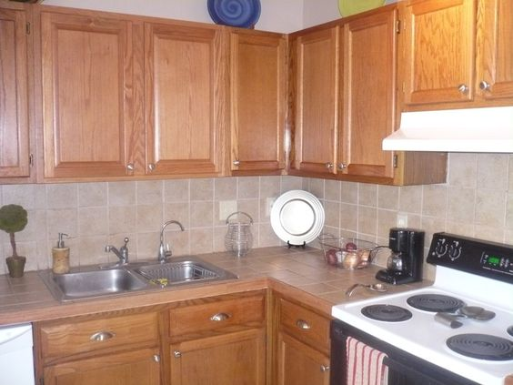 ceramic kitchen...Basic beige tile 4x4. Backsplash ...