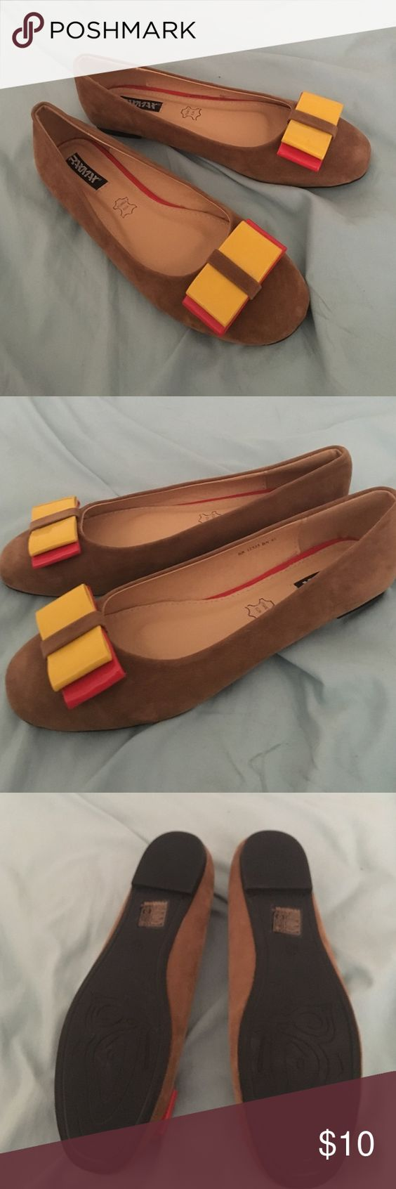 NEVER WORN❗️Ballet Flats from France Got these as a gift, but they're not my style. Came from a store in France, made with real leather and suede. Yellow and red bow. Never worn, brand new. Ask any and all questions. Shoes Flats & Loafers