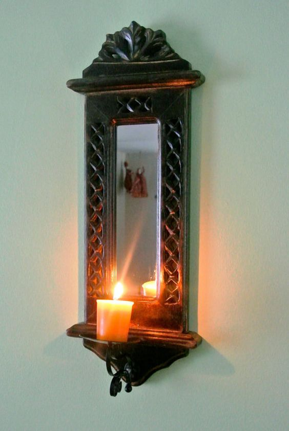 classic wooden candle holder with mirror wall mount wall mount mirror and classic. Black Bedroom Furniture Sets. Home Design Ideas