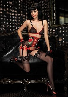 Leg Avenue 81259 3PC.Rock Star set,mesh bra,6 garter waist cincher and g-string    $27.15