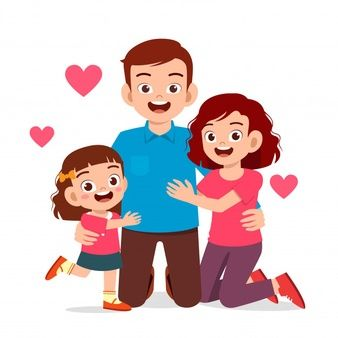 Happy Cute Kid Boy And Girl With Mom And Dad Cute Kids Cute Baby Dolls Mom And Dad