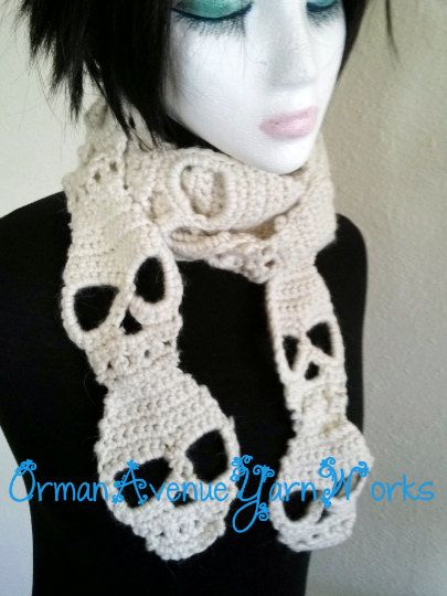 This listing is a PDF PATTERN ONLY for the Skull Scarf Crochet Pattern PDF. NOT a finished product.  Skeleton This pattern is for worsted