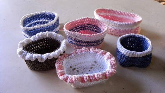 Canastitas al crochet, tejidas en hilo de algodon.