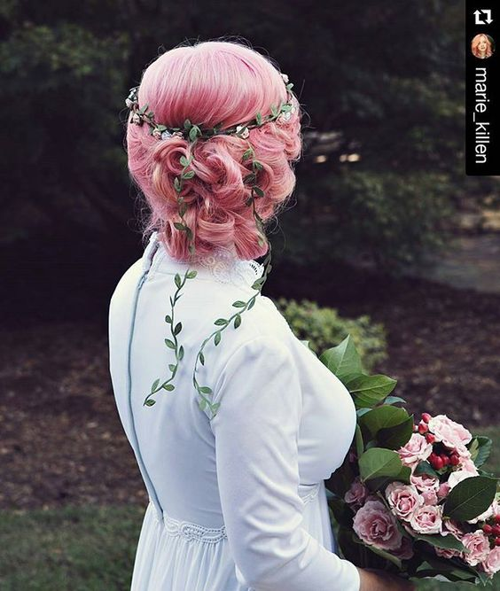 Brb: filling out change of address form because I'm moving into this picture permanently. Repost from @marie_killen ・・・ Throwback to just two weeks ago  I'm still in awe of @itskylebritt hair skills  #pinkhair #offbeatbride #overtone photo by @marthamanningphoto