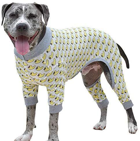 Amazon Com Tooth Honey Big Dog Pajamas One Piece Lightweight Pajamas Duck Print Large Pet Supplies Dog Pajamas Dog Jacket Patterns Big Dogs