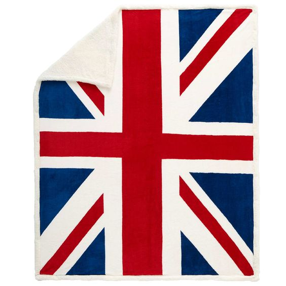 plaid sherpa imprim drapeau uk bleu blanc rouge linge de lit inspiration chambres d 39 enfants. Black Bedroom Furniture Sets. Home Design Ideas