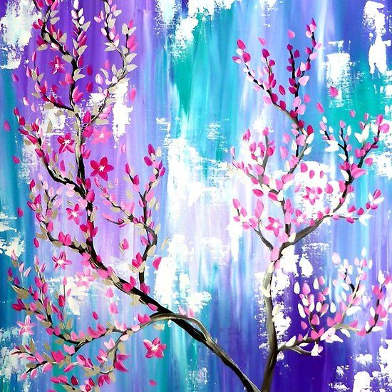 Cherry Blossom Trees Painting In Abstract Colours Aqua Abstract Painting With Pink Purplke Abstra Cherry Blossom Painting Blossom Trees Cherry Blossom Tree