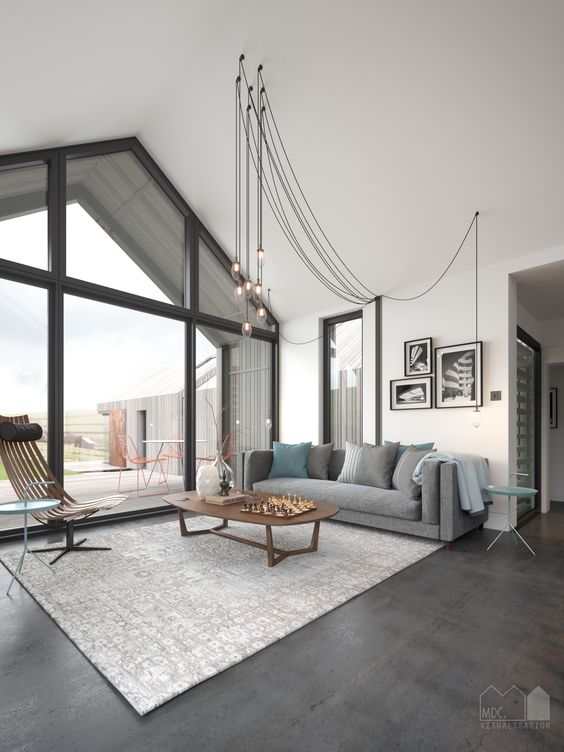 interior of single storey pitched roof house with apex window and polished concrete floor visual by matt clayton h o u s e h o m e pinterest
