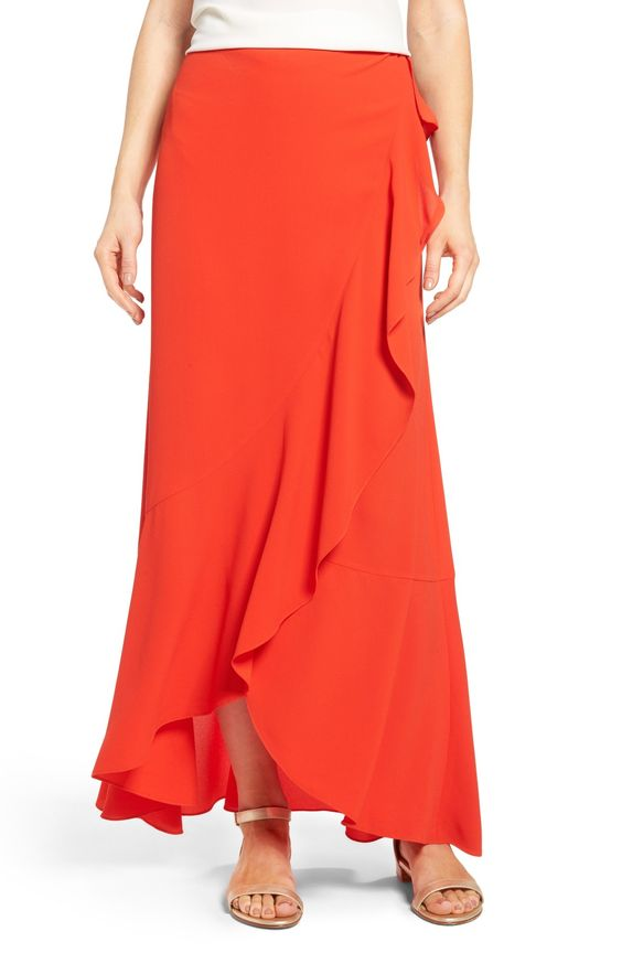 Faux Wrap Ruffled Maxi Skirt
