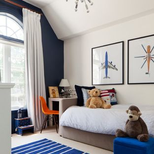 Curtains Ideas curtain placement : One Navy wall. Love the curtain placement with the half moon ...