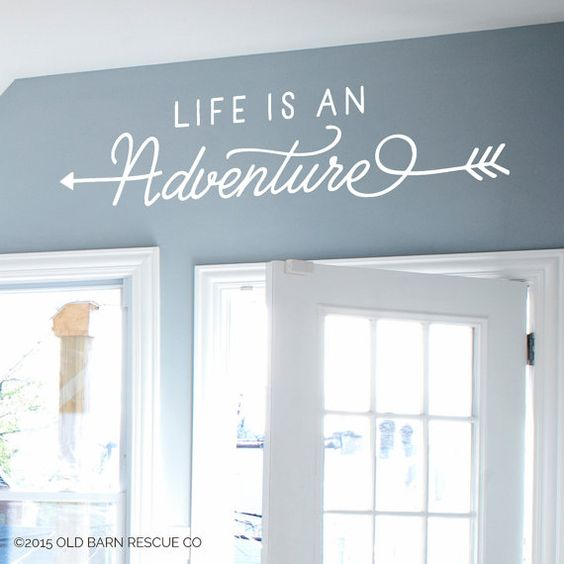 Life is an Adventure - Wall Decal Design with Arrows  Comes in the color of your choice, just tell us your color choice in the note from buyer - if no color is chosen it will be sent in WHITE (as shown in the photo). Need a DIFFERENT SIZE than one of the ones listed? Convo or email us at jan [!at] oldbarnrescue.com. If you have any questions feel free to call us at (314)503-5848 or e-mail us at jan [!at] oldbarnrescue.com.  ABOUT OUR WALL GRAPHICS:  Our vinyl has a matte finish and can go on…