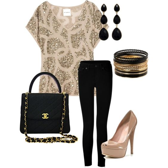 nude & black & sequins!! This is a must have outfit!