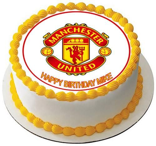 Super Manchester United Edible Birthday Cake Topper Or Cupcake Topper Funny Birthday Cards Online Sheoxdamsfinfo