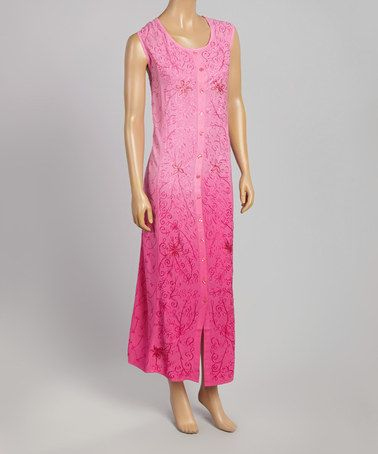 This Pink Ombré Floral Embroidered Sleeveless Maxi Dress is perfect! #zulilyfinds