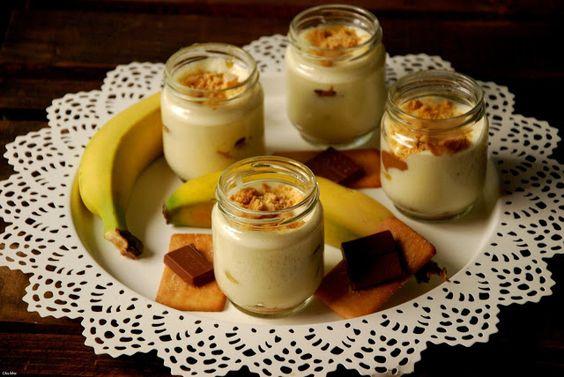 CHEZ SILVIA: Trifle de crema de queso, plátano, chocolate con c...