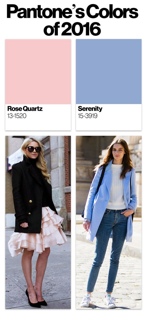 Outfit ideas with Pantone's 2016 colors of the year, Rose Quartz and Serenity:
