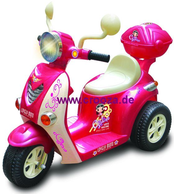 crooza elektro kinderauto kinderfahrzeug kinder elektroauto motorrad roller scooter pink rosa. Black Bedroom Furniture Sets. Home Design Ideas