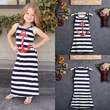 2016 moda para niños chicas lentejuelas de la marina de anclaje Stripes Party vestido Maxi vestido de tirantes 3-8Y venta al por mayor(China (Mainland))