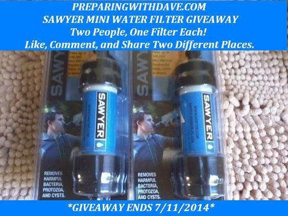 Sawyer Mini Water Filter Giveaway Preparing With Dave Sawyer Water Filter Water Smart Water Bottle