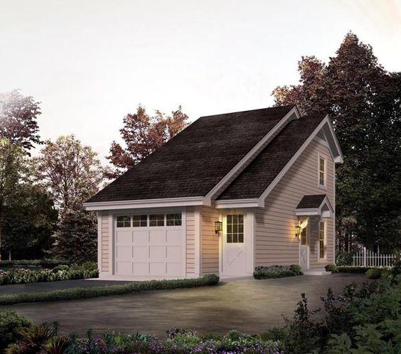 Saltbox Style 1 Car Garage Plan 65238: Country Saltbox Garage Plan 95826