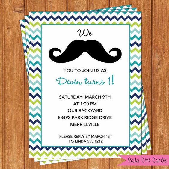 Mustache Invitation Kids Birthday – Printable Birthday Invitations for Kids